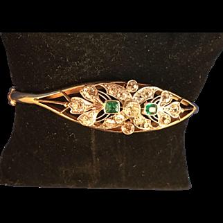 14kt Yellow Gold and Platinum, Ladies Hand Assembled Edwardian Bangle Bracelet