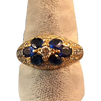 750 = 18K Yellow Gold 6 Sapphire Ring