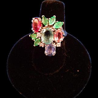 Vintage Gemstone Cocktail Ring - Aquamarine, Ruby, Sapphire, Emeralds, Diamonds