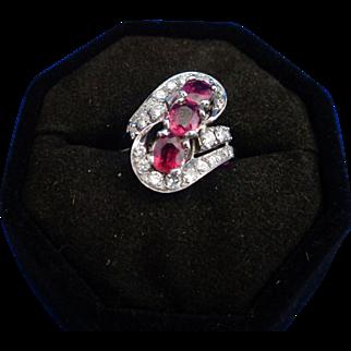 18 Karat White Gold, ruby cocktail ring