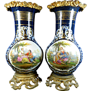 Two Antique Sevres Style Multi-Color Porcelain Vases Gold Gilded Bronze Mounts France