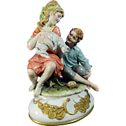Post-1940 Multi-Color Capodimonte Porcelain Figurine By B. Merli Set Italy