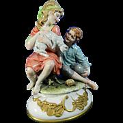 Post-1940 Multi-Color Capodimonte Porcelain Figurine By B. Merli Set Italy