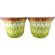 Pair of Antique Hand Painted Sarreguemines Majolica Porcelain Flower Pots – Austria 19th Century