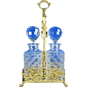 1900-1940 Bronze Ormolu Cut Glass Tantalus France