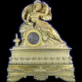 1850-1899 Large Orientalist Gold Gilded Bronze Mantle Clock France