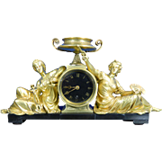 1850-1899 Gold Gilded Bronze Mantle Clock Goddesses of Science & Art France