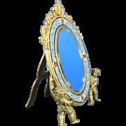 1850-1899 Gold Gilded Bronze & Enamel Table Mirror Cherubs France