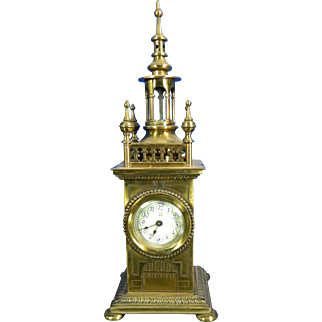 1850-1899 Gold Gilded Brass Mantle Clock Germany