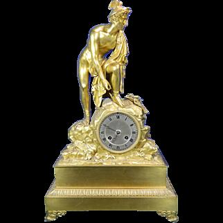 1850-1899 Gold Gilded Bronze Mantel Clock Hermes or Mercury France