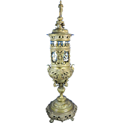 "1850-1899 31"" Tall Bronze and Glass Urn Germany"