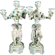 1850-1899 Large Pair Multi-Color Meissen Porcelain Candlesticks Germany