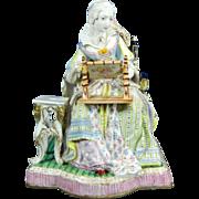 1850-1899 Large Multi-Color Meissen Porcelain Figurine Statue Germany