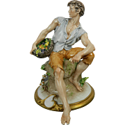 Old Capodimonte Porcelain Figurine Young Male by Cappe Italy
