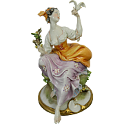 Old Capodimonte Porcelain Figurine Young Woman by Cappe Italy