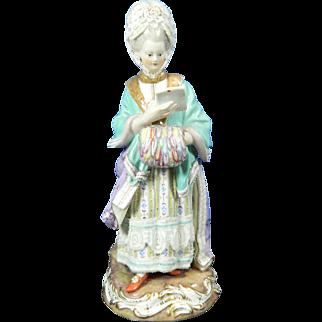 1850-1899 Meissen Multi-Color Porcelain Figurine Statue Lady Germany