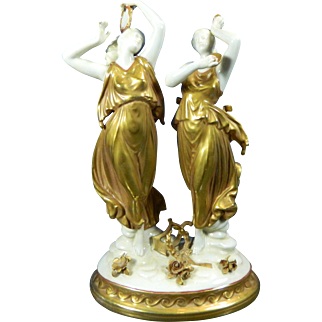 1900-1940 Gold Gilded Porcelain Figurine Statue Set Two Nymphs Germany