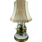 1900-1940 Gold Gilded Kings Dresden Porcelain Figurine Statue Set Lamp Germany