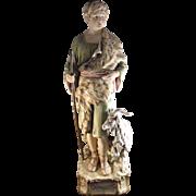 Antique Monumental Statue of Shepherd Royal Dux Porcelain Czech Republic