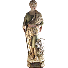 Antique Monumental Statue of Shepherd Royal Dux Porcelain Czech Republic