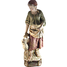 Antique Monumental Statue of Shepherdess Royal Dux Porcelain Czech Republic
