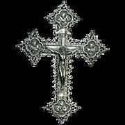 Antique Catholic Victorian 900 Silver Crucifix France