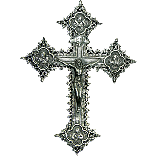 Antique Catholic Victorian 900 Silver Crucifix France