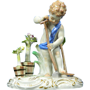 1850-1899 Meissen Multi-Color Porcelain Figurine Statue of Boy Harvesting