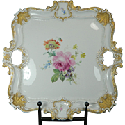 1850-1899 Meissen Multi-Color Porcelain Serving Tray Rose Pattern Germany