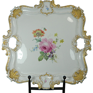 1850-1899 Meissen Multi-Color Porcelain Serving Tray Rose Pattern Germany