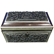 1850-1899 Hand Carved Wood and Inlaid Tea Caddy India