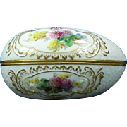 1850-1899 Meissen Multi-Color Porcelain Ovoid Trinket Box
