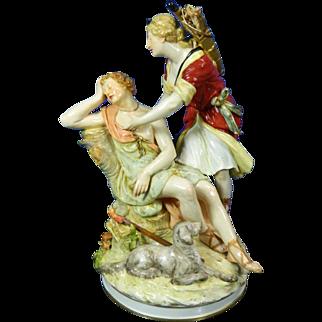 1850-1899 KPM Multi-Color Porcelain Figurine Statue of Artemisa and Orion