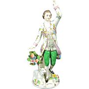 1850-1899 Sitzendorf Multi-Color Porcelain Figurine Statue Shepherd