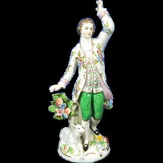 1850-1899 Sitzendorf Multi-Color Porcelain Figurine Statue Shepherd