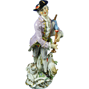 1850-1899 Meissen Multi-Color Porcelain Figurine Statue of Shepherd