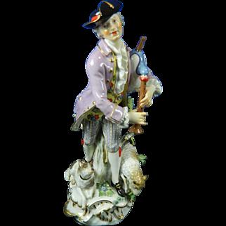1850-1899 Meissen Multi-Color Porcelain Figurine Statue of Shepherd
