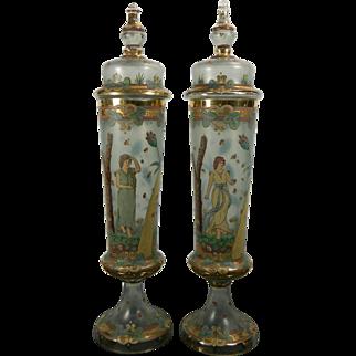 1900-1940 Rare Pair Moser Pokal Glass Pair Multi-Color Vases Czech Republic
