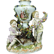 1850-1899 Meissen Multi-Color Porcelain Vase Figurine Statue Set Germany