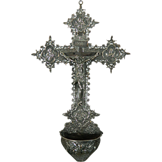 Antique Catholic Victorian Silver Crucifix with Holy Water Font France