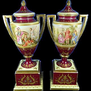 1850-1899 Pair Multi-Color Royal Vienna Porcelain Urns Austria