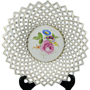 1850-1899 Multi-Color First Class Meissen Reticulated Porcelain Bowl Germany 1/2
