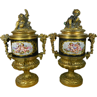 Antique Pair of Gilt Ormolu Sevres Porcelain Lidded Urns PH Mourey French
