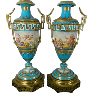 Antique Pair of Turquoise Sevres Porcelain Vases France