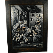 16th or 17th Century Rare Enamel Plaque Grisaille Crucifixion France