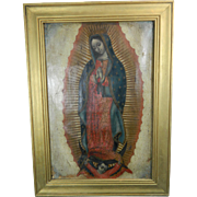 1800-1850 Our Lady of Guadalupe Multi-Color Framed Oil Painting Mexico