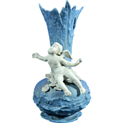 Old Parian or Biscuit Porcelain Vase Decorated with a Cupid or Angel – Germany 20th Century