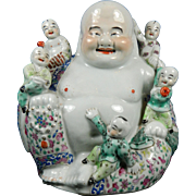 Vintage Chinese Buddha or Hotei with Children Hand Painted Porcelain Statue or Figurine – China 20th Century