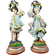 Antique Set of Two Hand Painted Porcelain Figurines – French Chantilly or Vion & Baury Style – France 19th Century