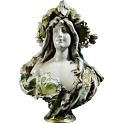 Antique Art Nouveau Hand Painted Porcelain Bust – Austria 19th Century